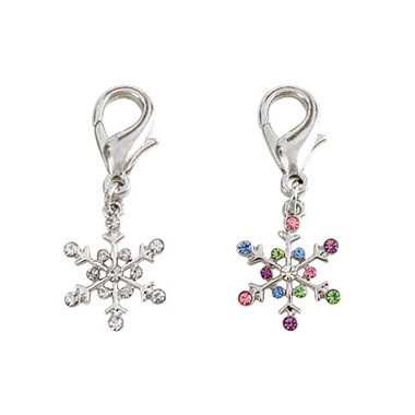 Crystal D-Ring Snowflake Charm Assorted Colours