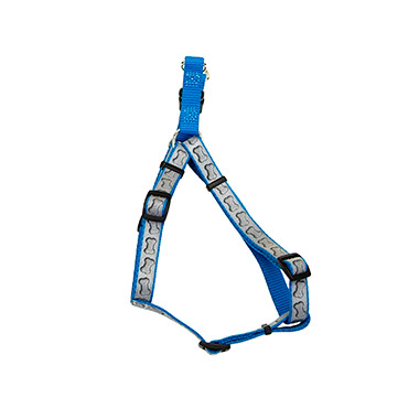 lazer-brite-reflective-nylon-adjustable-dog-harness-turquoise-bones