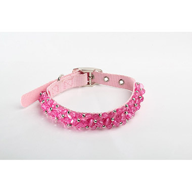 FabuCollar Beaded Nylon Dog Collar - Fuchsia