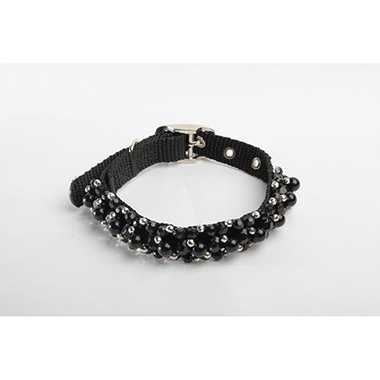FabuCollar Beaded Nylon Dog Collar - Jet Black