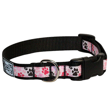 adjustable-nylon-dog-clip-collar-pitter-patter-pink