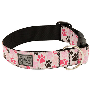 wide-adjustable-nylon-dog-clip-collar-pitter-patter-pink