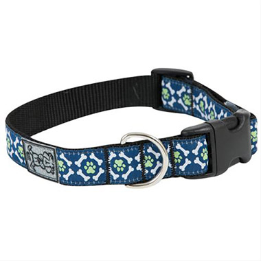 adjustable-nylon-dog-clip-collar-pawprint-greennavywhite