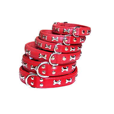 Rotterdam Bones Leather Collar - Red
