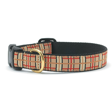 nylon-adjustable-dog-collar-tan-plaid