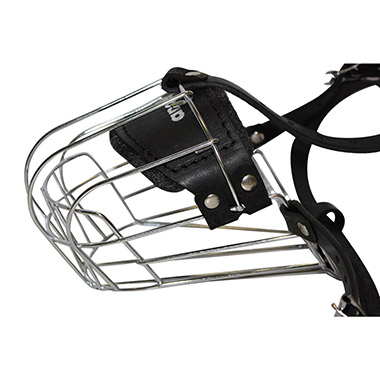 Cage Dog Muzzle Wire and Leather - Black