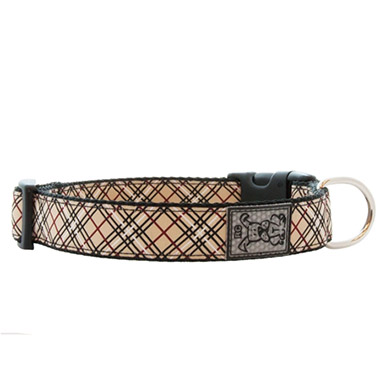 adjustable-nylon-dog-clip-collar-tan-tartan