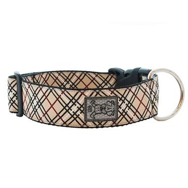 wide-adjustable-nylon-dog-clip-collar-tan-tartan