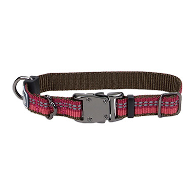 relfective-nylon-adjustable-dog-collar-berry