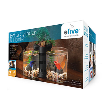 Betta Cylinder & Planter Black