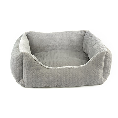 Cable Knit Bolster Bed Grey