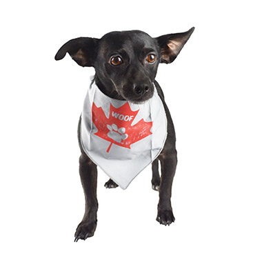 Grey Bandana with Maple Leaf & Woof