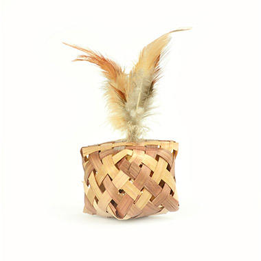 Raffia Cube with Feather & Bell - Natural