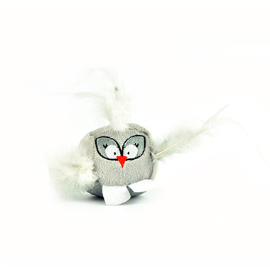 Cubeez Birds with Feathers and Rattle Ball - Grey