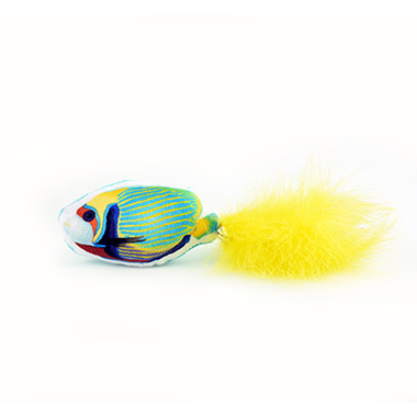 Tropical Fish with Marabou Feather & Bell - Yellow