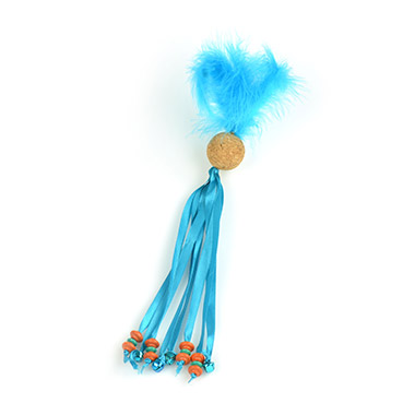 Feather Cork Ball with Ribbon Tails Blue