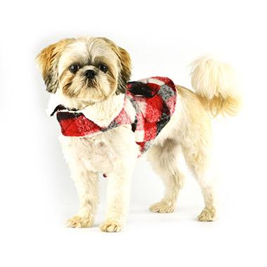 Plaid Wool Coat Red