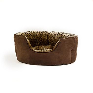Animal Print Brown Oval Bed