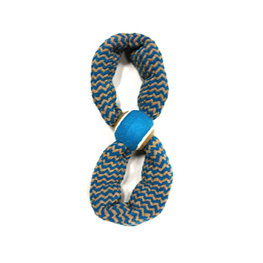 """Plush Squeaky Rope Figure 8 with 2.5"""" Tennis Ball Blue"""
