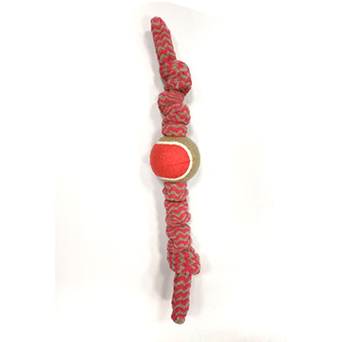 "Plush Bungee Rope Tug with 2.5"" Tennis Ball Red"