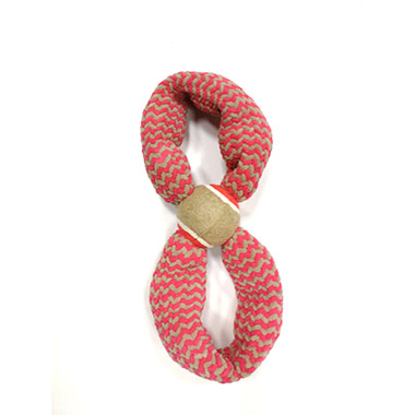 "Plush Squeaky Rope Figure 8 with 2.5"" Tennis Ball Red"