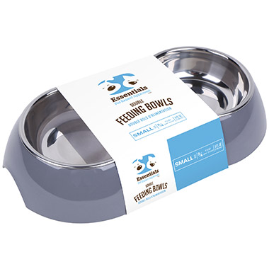 Melamine Double Feeding Bowl Grey