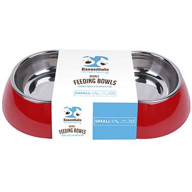 Melamine Double Feeding Bowl Red