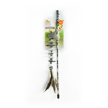 Black and White Fishbone Wand with Feathers