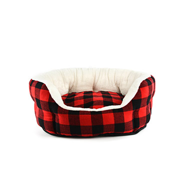 Red & Black Buffalo Check Oval Bed