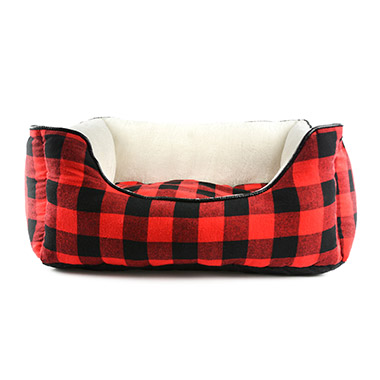 Red & Black Buffalo Check Bolster Bed