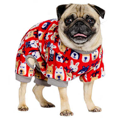Plush Animal Print Pajamas Red Scm04019 Pet Valu