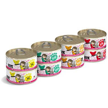 Variety Pak:  BFF Tuna Too Cool, BFF Tuna & Salmon Soulmates, BFF Tuna & Pumpkin Valentine, and BFF Tuna & Chicken 4-Eva