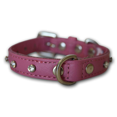 Athens Dog Collar Leather with Rhinestone Bubblegum Pink