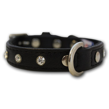 Athens Dog Collar Leather with Rhinestone Midnight Black