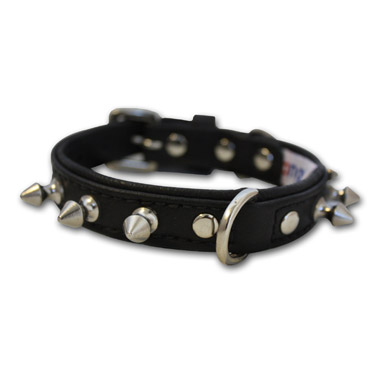 Rotterdam Dog Collar Leather Spiked Midnight Black