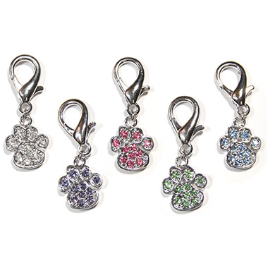 Crystal D-Ring Paw Charm Assorted Colours