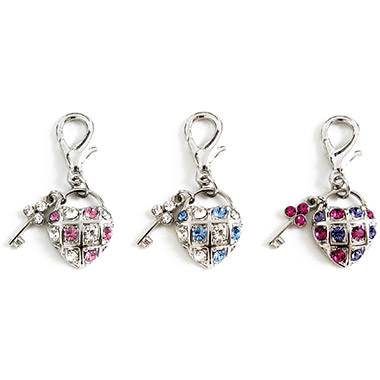 Crystal D-Ring Key to My Heart Charm Assorted Colours