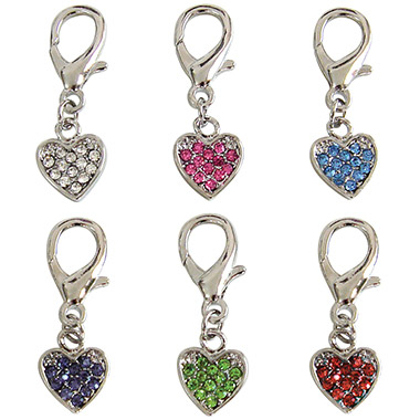 Crystal D-Ring Heart Charm Assorted Colours