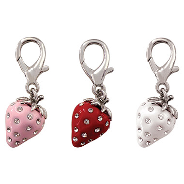 Crystal D-Ring Mini Strawberry Charm Assorted Colours