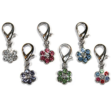 Crystal D-Ring Flower Charm Assorted Colours