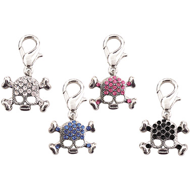 Crystal D-Ring Skull Charm Assorted Colours