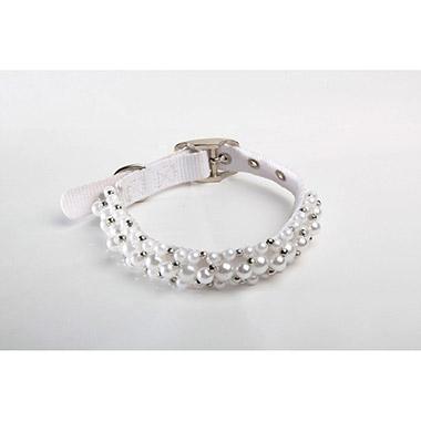 FabuCollar Beaded Nylon Dog Collar - Pearl