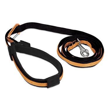 Quantum Nylon Adjustable Leash - Black with Orange Trim