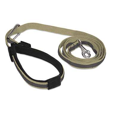 Quantum Nylon Adjustable Leash - Khaki with Charcoal Trim