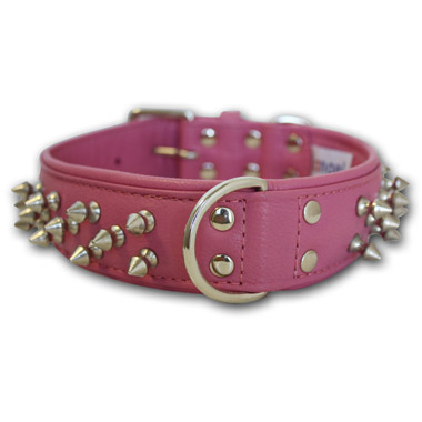 Amsterdam Dog Collar Leather Spiked - Bubblegum Pink